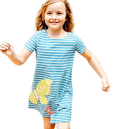 Clearance Sale!OverDose Toddler Kids Baby Girls Dress Short Sleeve Striped Cartoon Embroidery Tunic Outfits Children Costume