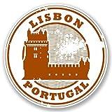 2 x 10cm/100 mm Lisbonne Portugal Auto-adhésif Autocollant Vinyle Autocollant pour portable Assurance voiture signer Fun #4294