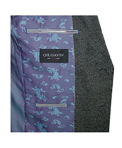 Uomo Giacca alla Moda Giacca per completo casual giacca camoscio sintetico TOPPE FODERATO maglia Carbone
