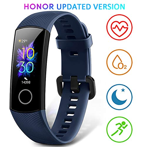 honor band 5 smartwatch orologio fitness tracker uomo donna smart watch cardiofrequenzimetro da polso contapassi smartband sportivo activity tracker, blu