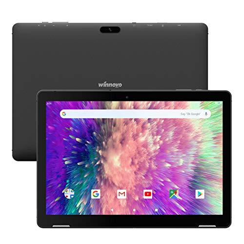 Tablette Tactile 10-Pouces Android 9.0 - Winnovo T10 3 Go RAM 32 Go Stockage Quad Core Processeur Écran HD IPS Audio Stéréo Gyroscope 3D Accéléromètre Wi-FI HDMI GPS Chassis en Metal (Noir)