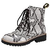 NMERWT Damen Stiefeletten Chelsea Boots Flandell Frauen Single Boots Snake Print flach mit rundem Kopf Lace Large Size Ankle Boots