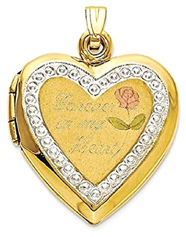 IceCarats 10kt Two Tone Yellow Gold Forever In My Heart Locket Pendant Charm Necklace