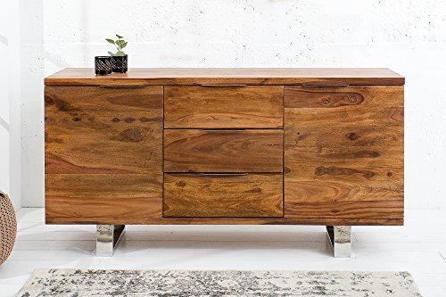 DuNord Design Sideboard Holz Massiv Anrichte Massivholz Kommode 160cm Sheesham Massiv natur STAGE Buffet -