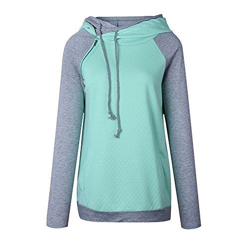 AHOOME Femme Sweat-shirt à Capuche Multicolore Collure Jumper Hoodie Manche Longue Sweater Tops Hauts Automne- Hiver Desigual Vert