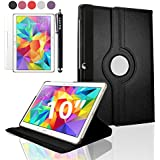"SAVFY Black Samsung Galaxy Tab S 10.5 Case-SAVFY Retail Packed 360 Degree Rotating PU Leather Case Cover Stand with Auto Sleep/Wake Function For Samsung Galaxy Tab S 10.5"" T800/T850 Tablet + Screen Protector + Stylus Touch Pen (Available in Mutiple Colors)"
