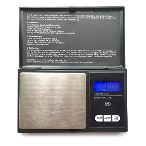 Taschenwaage, Foraco 500g/0,01g Digitale Waage Feinwaage Digitalwaage/Goldwaage/Münzwaage, Schwarz (Pocket Scale)