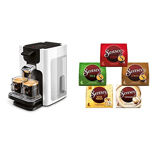 Philips Senseo HD7865/00 Quadrante Kaffeepadmaschine, XL-Wassertank, weiß mit Senseo Vielfaltspack