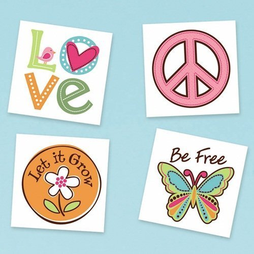 Amscan Hippie Chick Birthday Party Temporary Tattoo Favor , 2 x 2, Multicolor by Amscan