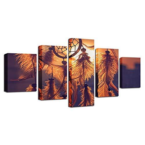 LJFYXZ Decoración De Arte De Pared Imprime Impresión de Alta definición Decoracion de Dormitorio Atrapasueños 5 Paneles Sala Cartel de Arte Lona Impermeable (Color : Sin Marco, Tamaño : 80x150cm)