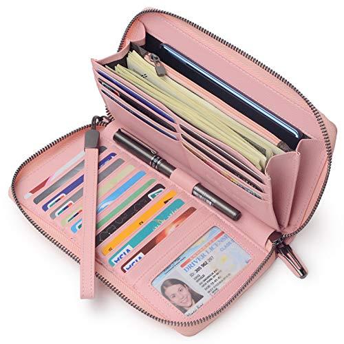 Portmonee Damen mit RFID Schutz Geldbeutel, Portemonnaie, Geldbörse, Brieftasche, Damengeldbeutel, Damengeldbörse lang groß viele fächer Leder Reissverschluss Pink