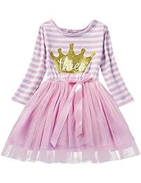 Bebé Niñas 1º   2º   3º Cumpleaños Tutú Rayas Princesa Vestido de Fiesta  con Mangas 379bdb56cdb5