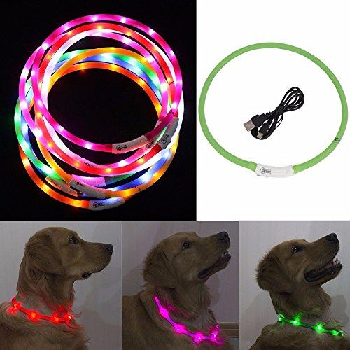 iEFiEL Collar Recargable Ajustable de Luz LED de Seguridad para Perro Gato con Cable USB de Goma Silicona Luminoso Verde talla única