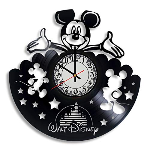 BombStudio Mickey Mouse Disney Wanduhr aus Vinyl, Micky Maus Disney, handgefertigt für Küche, Büro, Schlafzimmer Mickey Mouse Disney Wandposter (Tv Halloween-filme Disney Im)