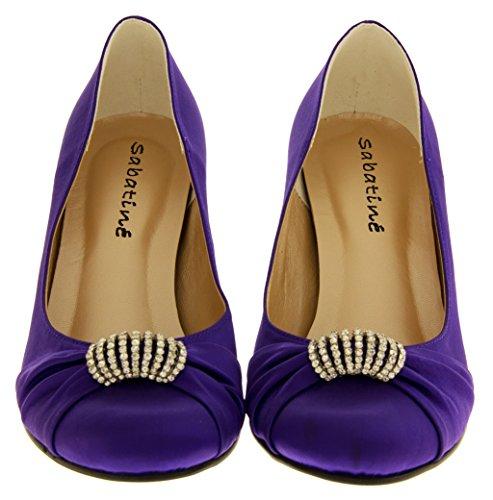 Sabatine Satin Diamante Mariée Chaussures de Mariage Femmes Violet