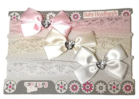 Baby Girls 3 Piece Lacey Headbands Gift Set Infants Cute Diamante Bows White Pink Cream Stretch 0-6 Months