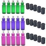 rechargeable bouteilles en verre de 5ml en acier inoxydable avec rouleau à balles, Lot de 15pour aromathérapie, huiles essentielles, parfums,, baumes à lèvres (5P Vert, Violet 5pièces, 5pcs Couleur Violet)