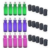 Glasflaschen nachfüllbar 5ml mit Edelstahl-Roller 15-teiliges Set für Aromatherapie, ätherische Ölen, Parfüm, Lippenbalsam (5x Grün, 5x lila, 5x violett)