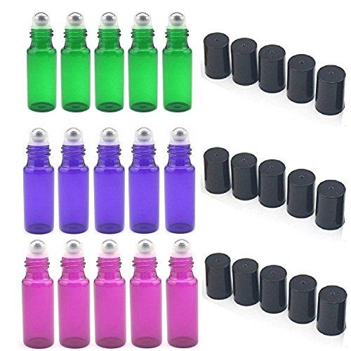 Glasflaschen nachfüllbar 5ml mit Edelstahl-Roller 15-teiliges Set für Aromatherapie, ätherische Ölen, Parfüm, Lippenbalsam (5x Grün, 5x lila, 5x violett) -