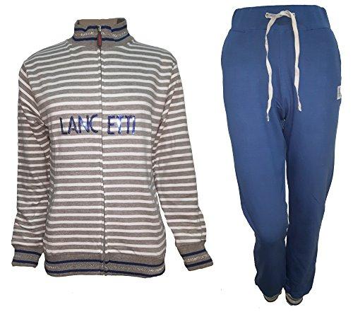 tuta donna cotone full zip LANCETTI homewear sport e tempo libero art. LF211 Grigio