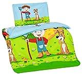 Aminata Kids Kinder-Bettwäsche 100-x-135 cm Bauernhof Bauer Tier-e Pferd-e Traktor Trecker Baby-Bettwäsche 100-% Baumwolle Renforce hell-blau grün rot-er Bunte Junge-n und Mädchen Test