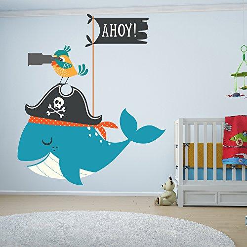 Preisvergleich Produktbild Pirat Wandaufkleber Wal und Papagei Tier Wandtattoo Bad Kinderzimmer Wohnkultur Erhältlich in 8 Größen XXX-Groß Digital