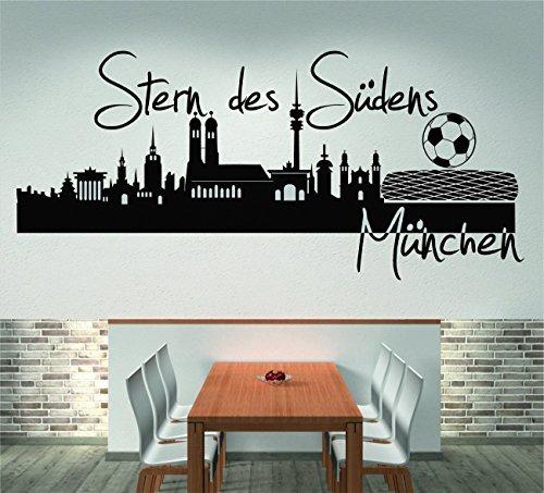 Orizzonte Di Munich stella del sud (120 larghezza cm, nero), Adesivo murale, Adesivo da muro, Soggiorno, Decorazione, Decorazione parete + Encore GRATIS