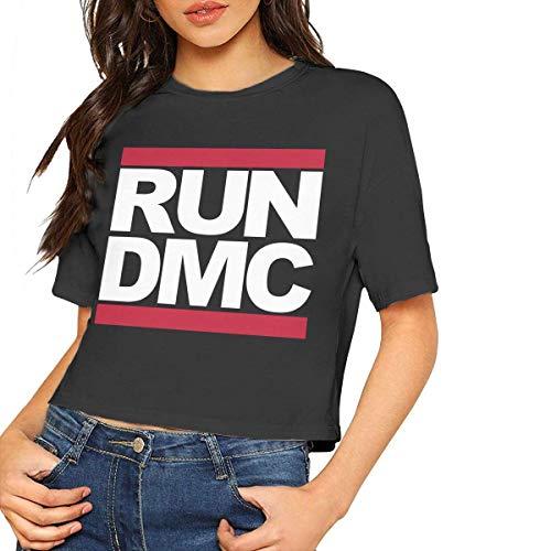 Run DMC Sexy Exposed Navel Female T-Shirt Bare Midriff Crop Top,Black,L