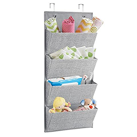 Mdesign Fabric Wardrobe Organiser Wall Mounted or Hanging Over the Door Handbag, Toy, Baby/Kids Clothes, 4 Pockets, Grey