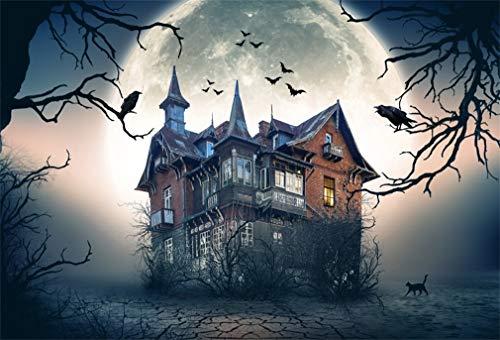 YongFoto 1,5x1m Vinyl Foto Hintergrund Halloween Haunted Spooky House Vollmond Fotografie Hintergrund für Fotoshooting Fotostudio Requisiten