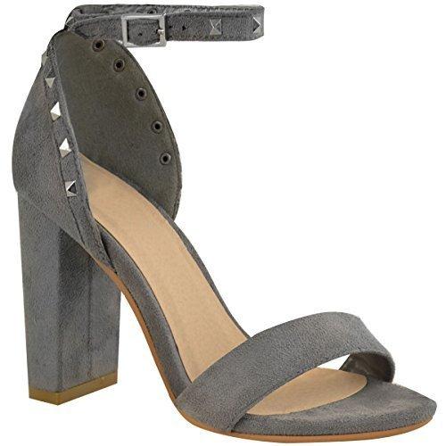 donna borchiato BLOCCO tacchi alti sandali cinturino alla caviglia punta aperta Scarpe da festa Grigio Finto Scamosciato
