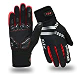 FDX Cycling Gloves Windproof Gel Padded Touchscreen Compatible Full Finger Gloves (Black/Red, Small)
