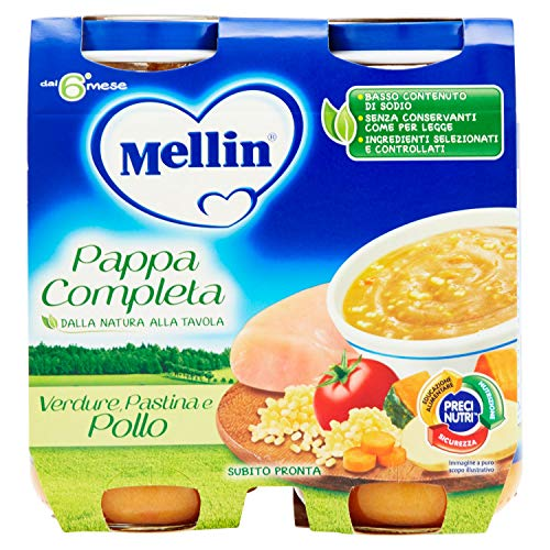 Mellin pappa completa verdure pastina e pollo - confezione da 2 vasetti x 250 g