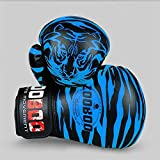 RAINBOW.M PU Tiger-Muster Boxhandschuhe Professionelle Sanshou Thai Kickboxen MMA Sparring Sport Handschuhe, blau
