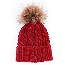 Gorras para bebé, Dragon868 Bebé recién nacido de invierno niños de lana dobladillo sombreros de punto (Rojo)