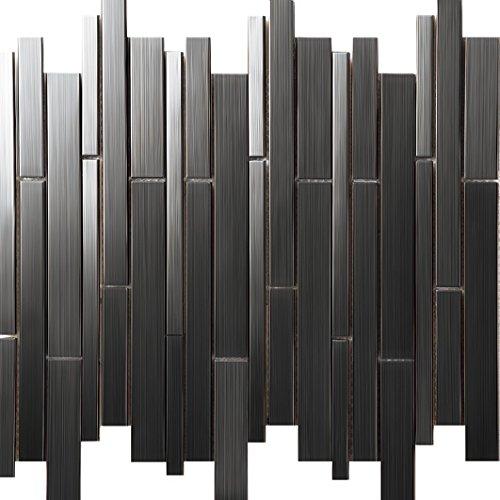 Edelstahl-liner (Modernen Stil Liner Streifen Edelstahl Silber Fliesen, Innenwand Dekoration Mosaik Fliesen Aufkleber, Farben optional, SA698 (300x300mm/Stück, SA698-2A))