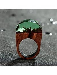 Yudanwin Anillo de Resina de Madera con Miniatura Fantasía Secret Forest Paisaje Joyería – 1 Pieza Verde