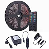 ESO 10m 32.8 ft 5050 SMD wasserdichtes IP44 flexibles RGB 300 LED Streifen Strip Set Lichtstreifen Kit in Schwarz PCB + 44 Tasten Fernbedienung + EU Netzadapter
