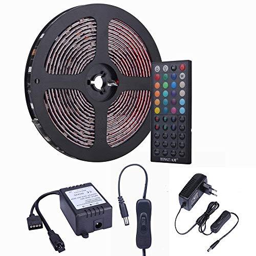 ESO 10m 32.8 ft 5050 SMD wasserdichtes IP44 flexibles RGB 300 LED Streifen Strip Set Lichtstreifen Kit in Schwarz PCB + 44 Tasten Fernbedienung + EU Netzadapter (Pink Schwarz-tisch-einstellungen Und)