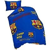 Oficial diseño parche FC BARCELONA azul edredón individual y conjunto de un solo caso de almohadas