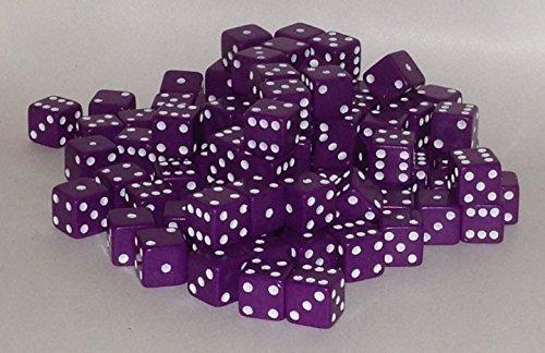 100 x 7 mm opacos dado de 6 lados (Púrpura)