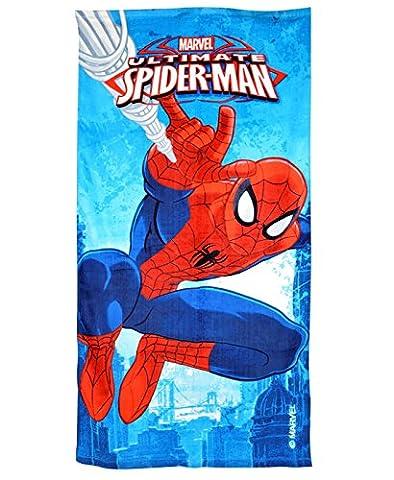 Marvel Spiderman Serviette de bain Garçons en coton d'été plage Drap de bain pour enfant, Spiderman Towel, Taille unique