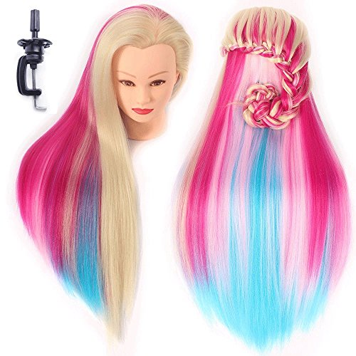 Hairdressing Training Heads 100% Synthetic Fiber Hair Mannequin Styling Dolls Head Multicoloured (Table Clamp Holder Included) ESACH1P