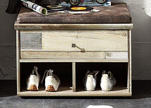 Stella Trading BZDD643060 Sitzkommode mit Sitzkissen, Sitzbank, Holz, braun, 67 x 47 x 40 cm