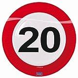 8 PAPPTELLER 23cm MOTIV SCHILD MIT DER ZAHL 20. Geburtstag DEKO 20