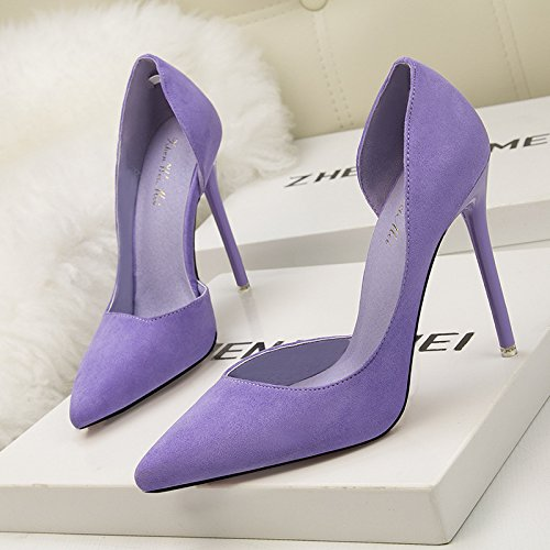 di semplici camoscio cava in alto versione Sottolineato poco profonda sexy bocca sottile tacco con coreana purple scarpe il qS1wE