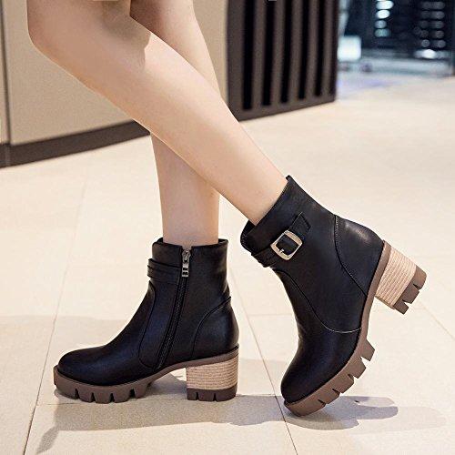 Mee Shoes Damen kurzschaft runde chunky heels Plateau Stiefel Schwarz