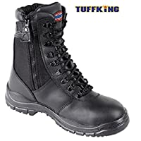 Black Zip Up High Leg Steel Toe Work Safety Boots 9108 Tuffking Boot UK4-13 (UK 9)