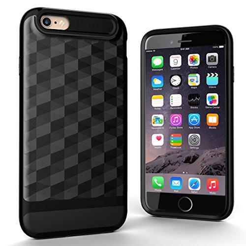 """iPhone 6s Hülle, HICASER Dual Layer Case Shock Proof Prism Textur TPU +PC Bumper Handytasche Schutzhülle für iPhone 6 / 6s 4.7"""" Schwarz / Silber Schwarz"""
