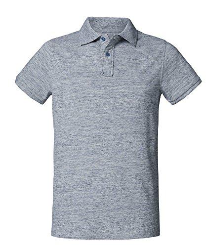 Herren Poloshirt aus Biobaumwolle, Poloshirt Herren aus Baumwolle (Bio), Polo shirt Bio, Polohemd Bio. Die Knopfleiste mit modischen Falten Hellblau-Melange